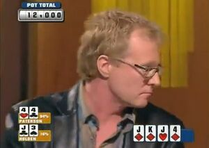 Яркий пример глубоких ридсов живого покера - Гэри Патерсон фолдит фулл-хаус на одну ставку